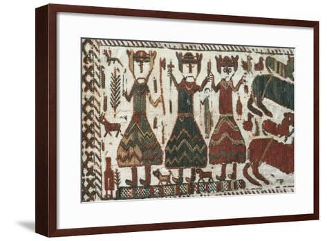 Detail from Skogchurch Tapestry Depicting Norse Gods Odin, Thor and Freyr, Sweden, 12th Century--Framed Art Print