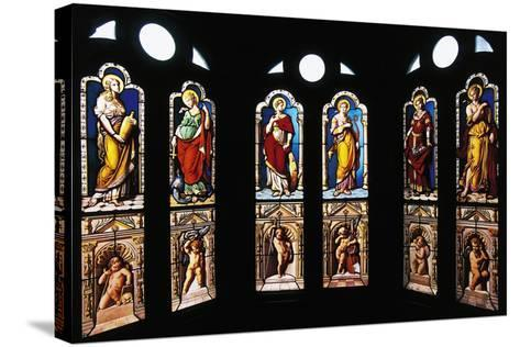 Figures of Saints, Stained Glass in Oratory, Royal Chateau De Blois--Stretched Canvas Print