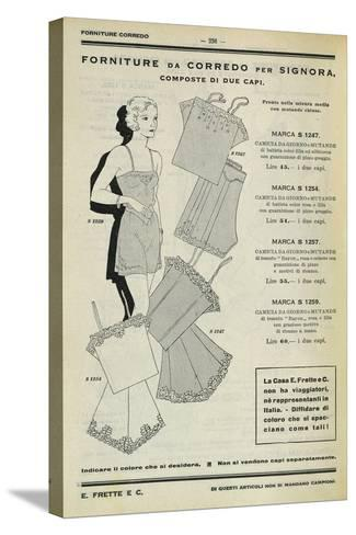 Women's Set of Clothing: Dressing Gown and Pants, Page from Frette Catalogue, 1934--Stretched Canvas Print
