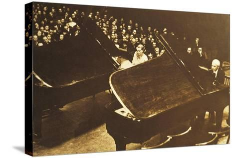 Hungary, Budapest, Bela Viktor Janos Bartok in Concert at Piano with His Second Wife Ditta Pasztory--Stretched Canvas Print