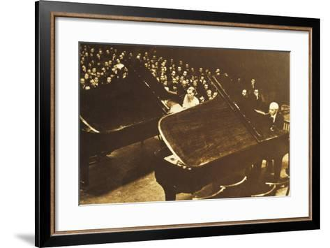Hungary, Budapest, Bela Viktor Janos Bartok in Concert at Piano with His Second Wife Ditta Pasztory--Framed Art Print