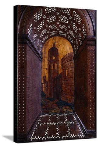 Marquetry Depicting Perspective View of Building, Wood Carving--Stretched Canvas Print