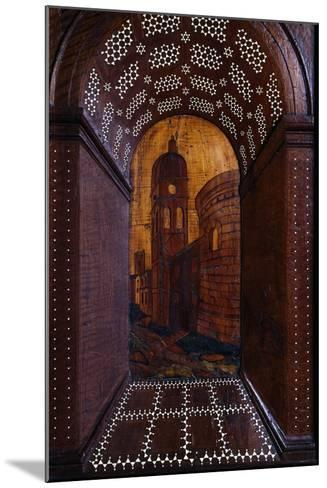 Marquetry Depicting Perspective View of Building, Wood Carving--Mounted Giclee Print