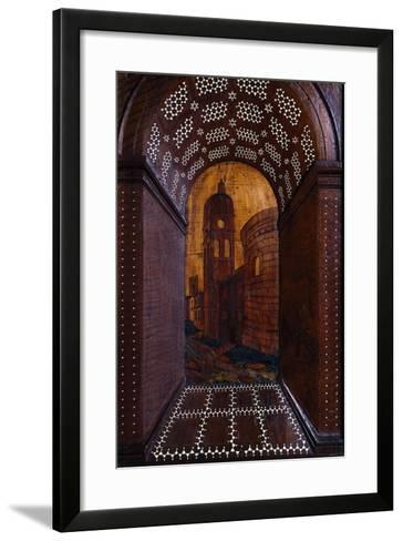 Marquetry Depicting Perspective View of Building, Wood Carving--Framed Art Print