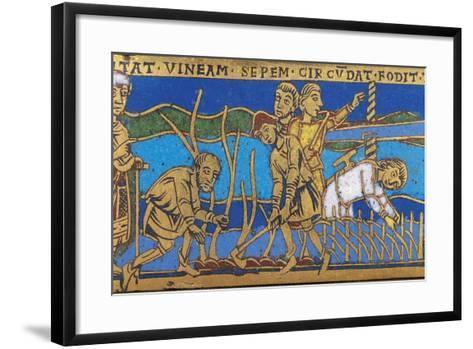 Plate Depicting Scene of Agricultural Work--Framed Art Print
