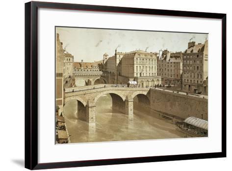 France, Paris, View of Petit Pont, Place Du Petit Pont and Hotel Dieu on Ile De La Cite, 1830--Framed Art Print