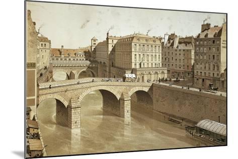 France, Paris, View of Petit Pont, Place Du Petit Pont and Hotel Dieu on Ile De La Cite, 1830--Mounted Giclee Print