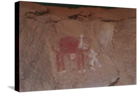 Close-Up of Rock Paintings, Akakus Massive, Libya, Depicting a Camel--Stretched Canvas Print