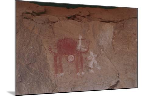 Close-Up of Rock Paintings, Akakus Massive, Libya, Depicting a Camel--Mounted Giclee Print