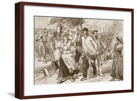 Rioters and Petroleuses Firing Public Buildings in Paris--Framed Art Print
