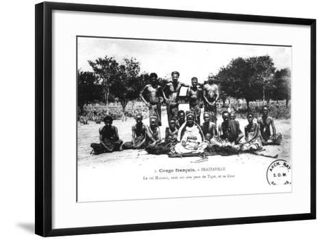 King Makoko, Seated on a Tiger Skin, and His Court, in Brazzaville, French Congo--Framed Art Print