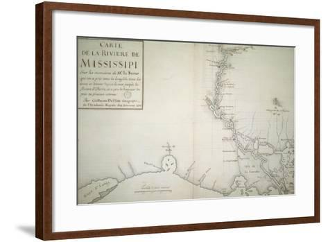 Map of Mississippi River by Guillaume Delisle on Paper, Created in Paris, 1702--Framed Art Print