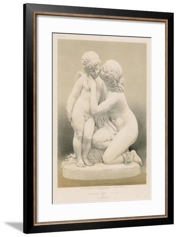 Nymph and Cupid by E Muller--Framed Art Print