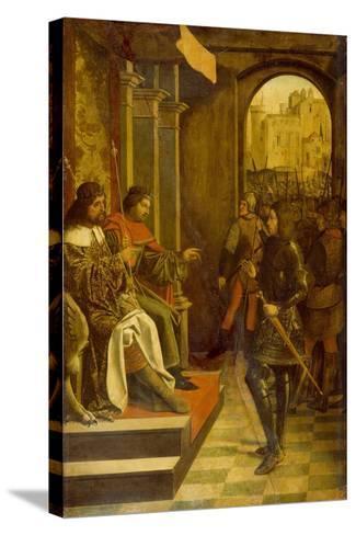 Saint Sebastian before the Roman Emperors Diocletian and Maximianus, 1497--Stretched Canvas Print