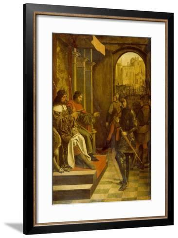 Saint Sebastian before the Roman Emperors Diocletian and Maximianus, 1497--Framed Art Print