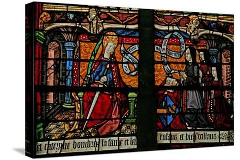 Window W4 Depicting a Donor - Catherine Boucheret with Family and St. Catherine--Stretched Canvas Print