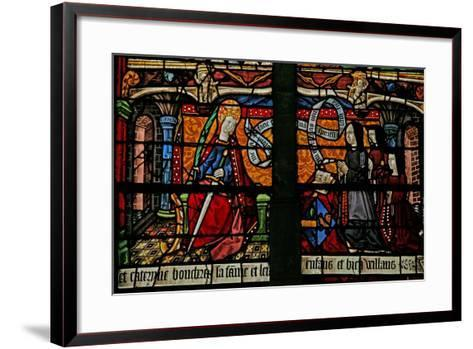 Window W4 Depicting a Donor - Catherine Boucheret with Family and St. Catherine--Framed Art Print