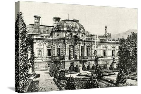 The Garden of Ludwig II of Bavaria's Linderhof Castle, Germany 19th Century Engraving--Stretched Canvas Print