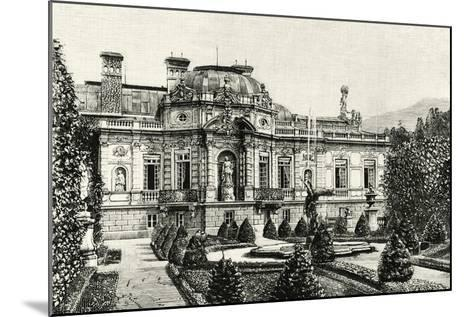 The Garden of Ludwig II of Bavaria's Linderhof Castle, Germany 19th Century Engraving--Mounted Giclee Print