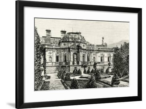 The Garden of Ludwig II of Bavaria's Linderhof Castle, Germany 19th Century Engraving--Framed Art Print
