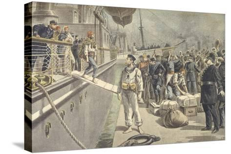 Landing of Spanish Prisoners at Key West During Spanish-American War of 1898--Stretched Canvas Print