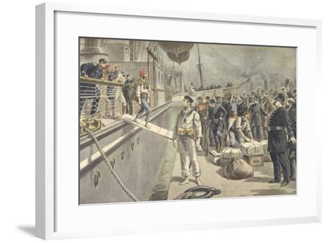 Landing of Spanish Prisoners at Key West During Spanish-American War of 1898--Framed Art Print
