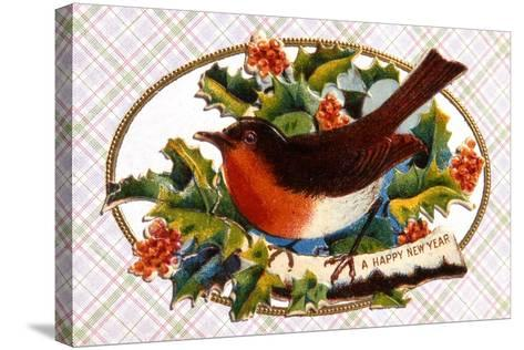 Robin, Victorian Christmas Card, C.1880--Stretched Canvas Print