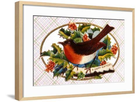 Robin, Victorian Christmas Card, C.1880--Framed Art Print