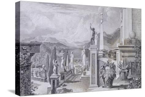 Glimpse of the Park at Palazzo Borromeo on Isola Bella on Lake Maggiore--Stretched Canvas Print