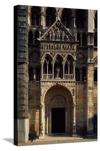 Porch and Main Doorway of Facade of Saint George Martyr Basilica, Ferrara, Emilia-Romagna, Italy--Stretched Canvas Print