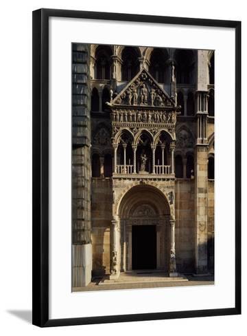Porch and Main Doorway of Facade of Saint George Martyr Basilica, Ferrara, Emilia-Romagna, Italy--Framed Art Print