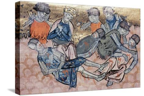 Charlemagne Mourns Orlando's Death, Miniature from the Great Chronicles of France Manuscript--Stretched Canvas Print