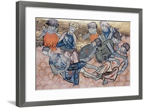 Charlemagne Mourns Orlando's Death, Miniature from the Great Chronicles of France Manuscript--Framed Art Print