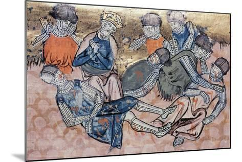 Charlemagne Mourns Orlando's Death, Miniature from the Great Chronicles of France Manuscript--Mounted Giclee Print