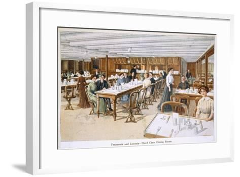 Franconia and Laconia: Third Class Dining Room--Framed Art Print
