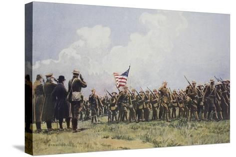 Review of United States Troops in France, March, 1918--Stretched Canvas Print