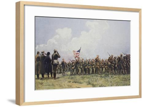 Review of United States Troops in France, March, 1918--Framed Art Print