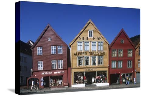 Norway, Bergen, Bryggen, Old Wharf, Tyskebryggen, German Wharf, Hanseatic Commercial Buildings--Stretched Canvas Print