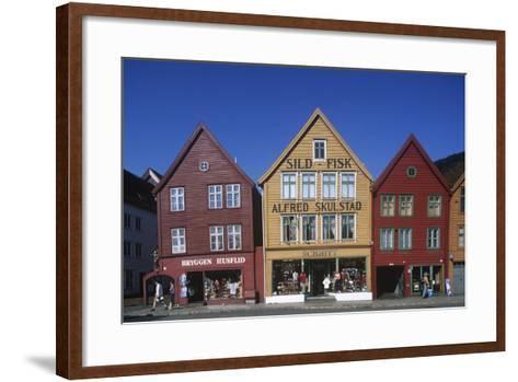 Norway, Bergen, Bryggen, Old Wharf, Tyskebryggen, German Wharf, Hanseatic Commercial Buildings--Framed Art Print