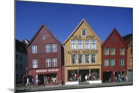 Norway, Bergen, Bryggen, Old Wharf, Tyskebryggen, German Wharf, Hanseatic Commercial Buildings--Mounted Giclee Print