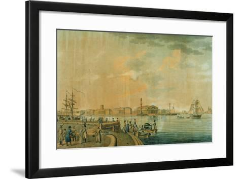 The Bourse and the Rostral Columns, Saint Petersburg, 1807--Framed Art Print