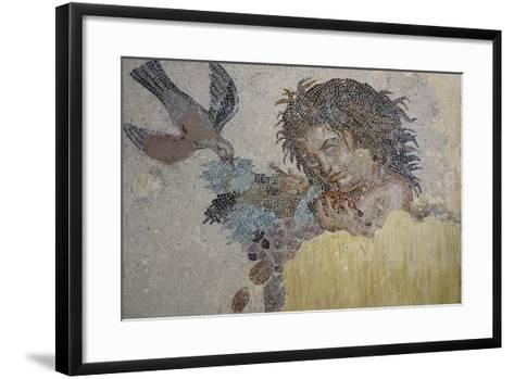 Boy with Dove, Mosaic from Roman Villa in Rabat, Morocco BC--Framed Art Print