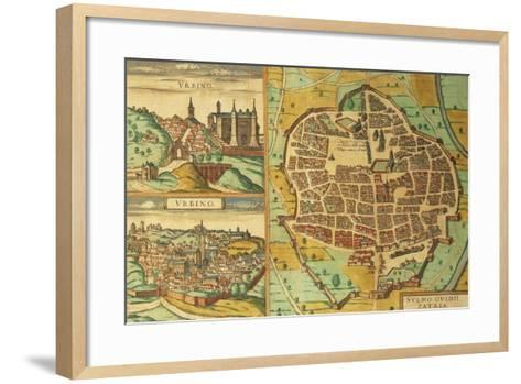 Maps of Urbino and Sulmona, Abruzzo and Marches Regions, Italy--Framed Art Print