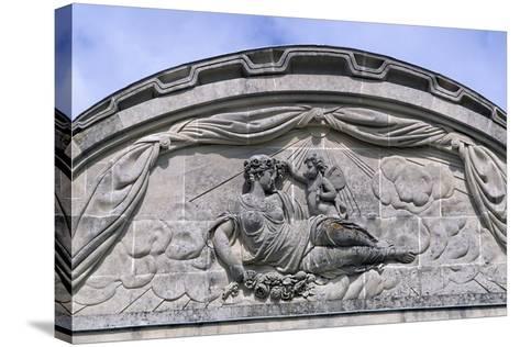 Relief, Decorated Pediment, Chateau De Craon Southern Facade of Castle, Pays De La Loire, France--Stretched Canvas Print