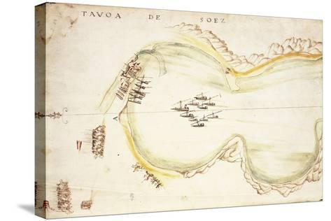 Gulf of Suez, Egypt, from Nautical Charts by Joao De Castro, 1538--Stretched Canvas Print
