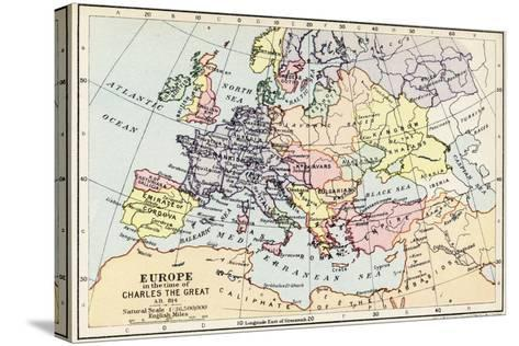 Map of Europe in the Time of Charles the Great--Stretched Canvas Print