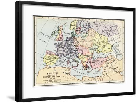 Map of Europe in the Time of Charles the Great--Framed Art Print