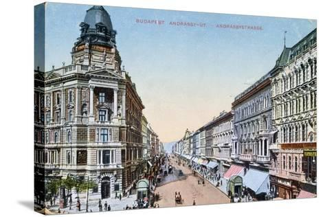Postcard Depicting the Avenue Andrassy in Budapest, Hungary, 1913--Stretched Canvas Print