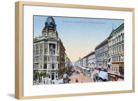 Postcard Depicting the Avenue Andrassy in Budapest, Hungary, 1913--Framed Art Print