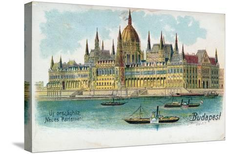 Postcard Depicting the Houses of Parliament, Budapest--Stretched Canvas Print